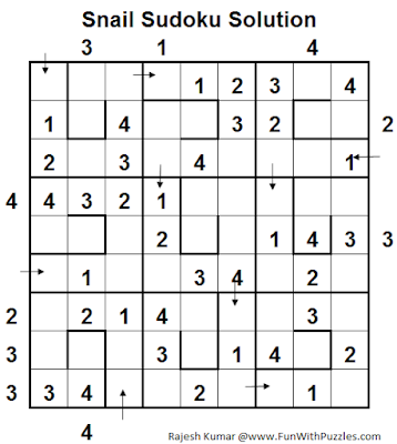 Snail Sudoku (Logical Puzzles Series #6) Solution
