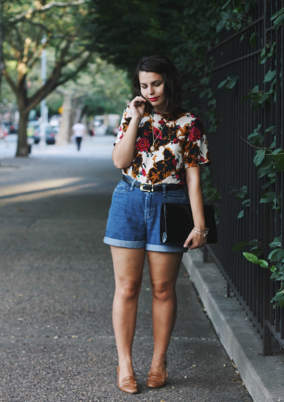 Vintage Floral Blouse, High-waisted Denim Shorts, Snakeskin Betl, Loafers, and Cherry Bomb Lipstick | Someone Like You