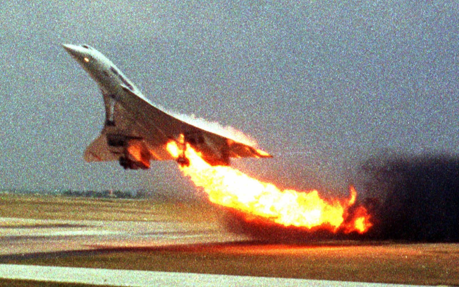 On July 25, 2000, an Air France Concorde burst into flames and crashed shortly after taking off. The plane caught fire after a blown tire ruptured the Concorde's fuel tanks, and 113 people died in the crash.