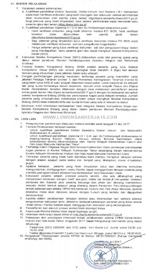 Persyaratan CPNS Kementerian Hukum dan HAM 2017