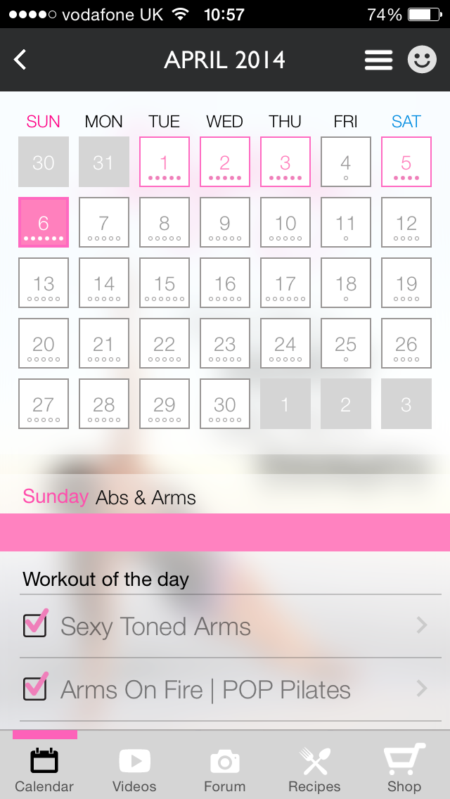 screenshot of blogilates mobile app on francescasophia.co.uk