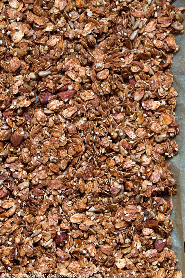 zimowa granola miodowo-migdałowa z suszoną żurawiną