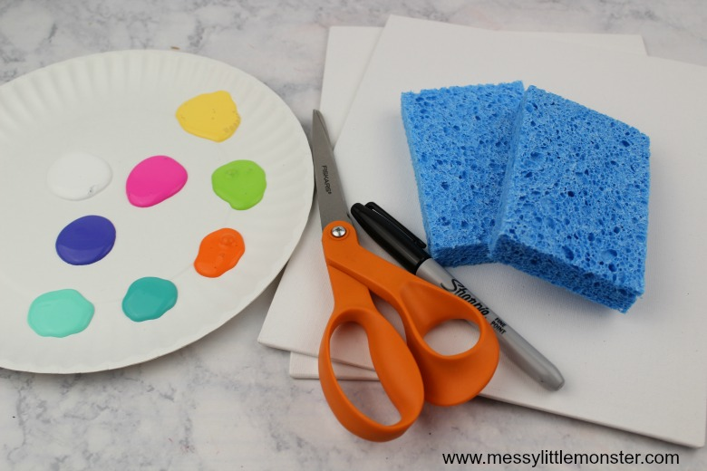 Easy easter egg sponge painting craft for toddlers and preschoolers.
