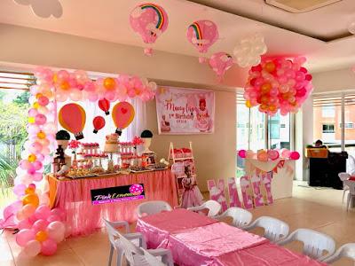 Pink hot air balloon dessert buffet