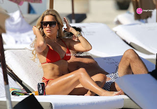 Sylvie Meis Super  fit  body in tiny red bikini WOW Beach Side  Pics Celebs.in Exclusive 010