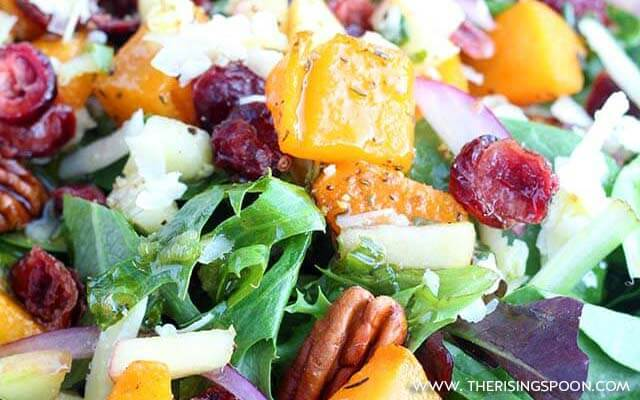 Autumn Salad with Butternut Squash, Apples, Cranberries & Candied Pecans