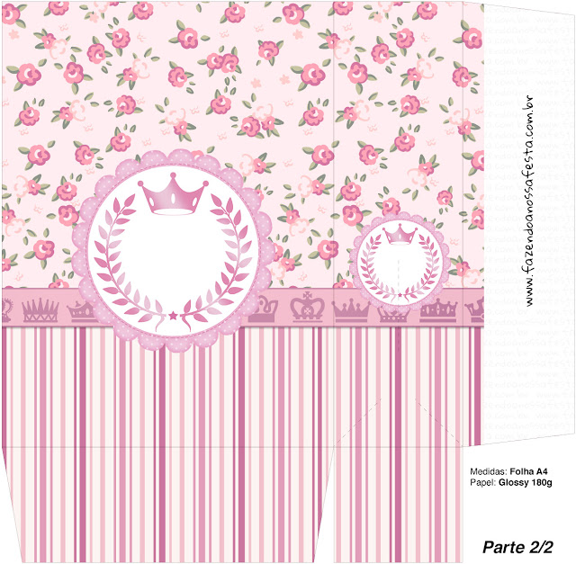 Pink Crown in Shabby Chic Free Printable Quinceanera PartyBoxes.
