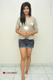 Actress Model Shamili (Varshini Sounderajan) Stills in Denim Shorts at Swachh Hyderabad Cricket Press Meet  0044.JPG