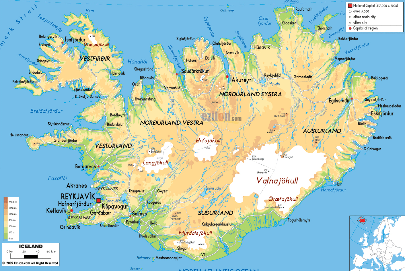 Islândia | Mapas Geográficos da Islândia