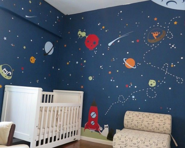 Galaxy Space Baby Boy Bedroom Wall Paint Themes Decor For Small Spaces