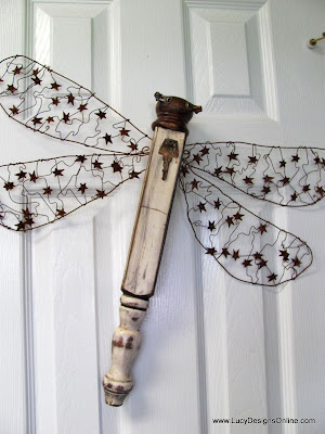wire wing dragonfly art recycled art
