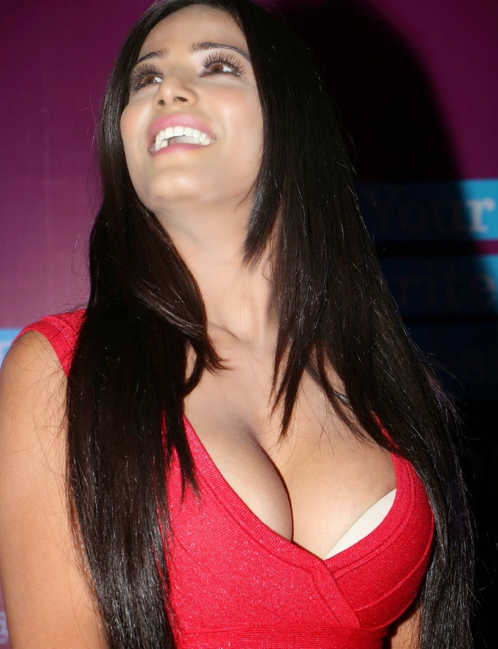 Poonam Pandey Sexy In A Low-Neck Red Dress At Telugu Film -5480