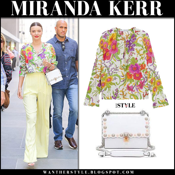 Miranda Kerr in flower print blouse balenciaga, yellow pants with white bag fendi kan I september 13 2017 street fashion