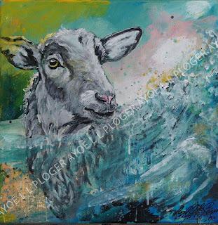 Art, kunst, maleri, får, sheep, forår,noget-til-væggen,acryl,clean ocean,rent hav, himmel