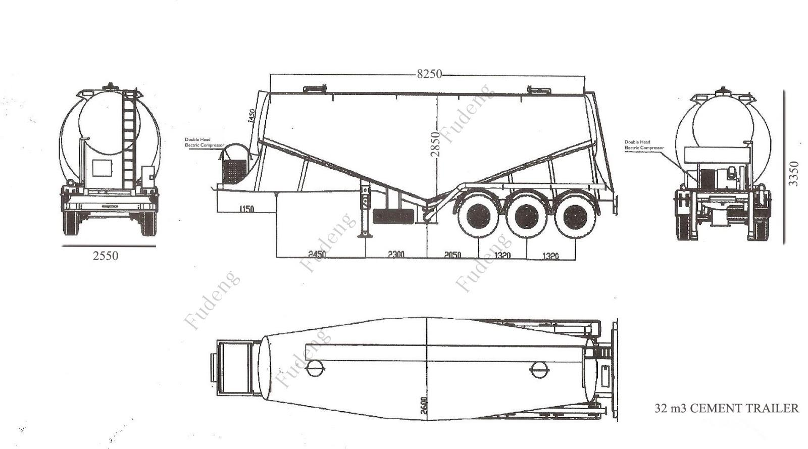 china fudeng semi trailer manufacturer  3 axles 40cbm bulk cement truck powder semi trailer for sale