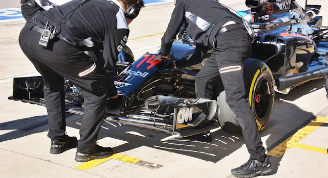 L'ala sperimentale provata dalla Mclaren nelle prove libere del Gran Premio di Astin