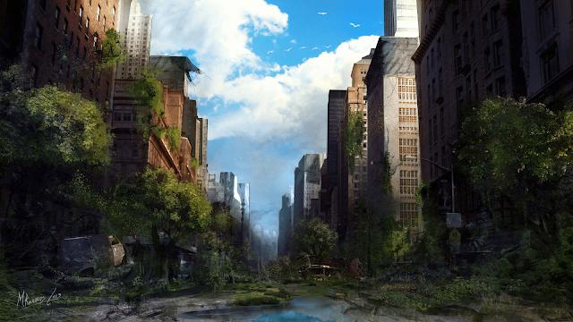 calle de la ciudad despoblada con árboles y hierba