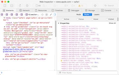 عرض مصدر صفحة الويب CSS و HTML في Safari