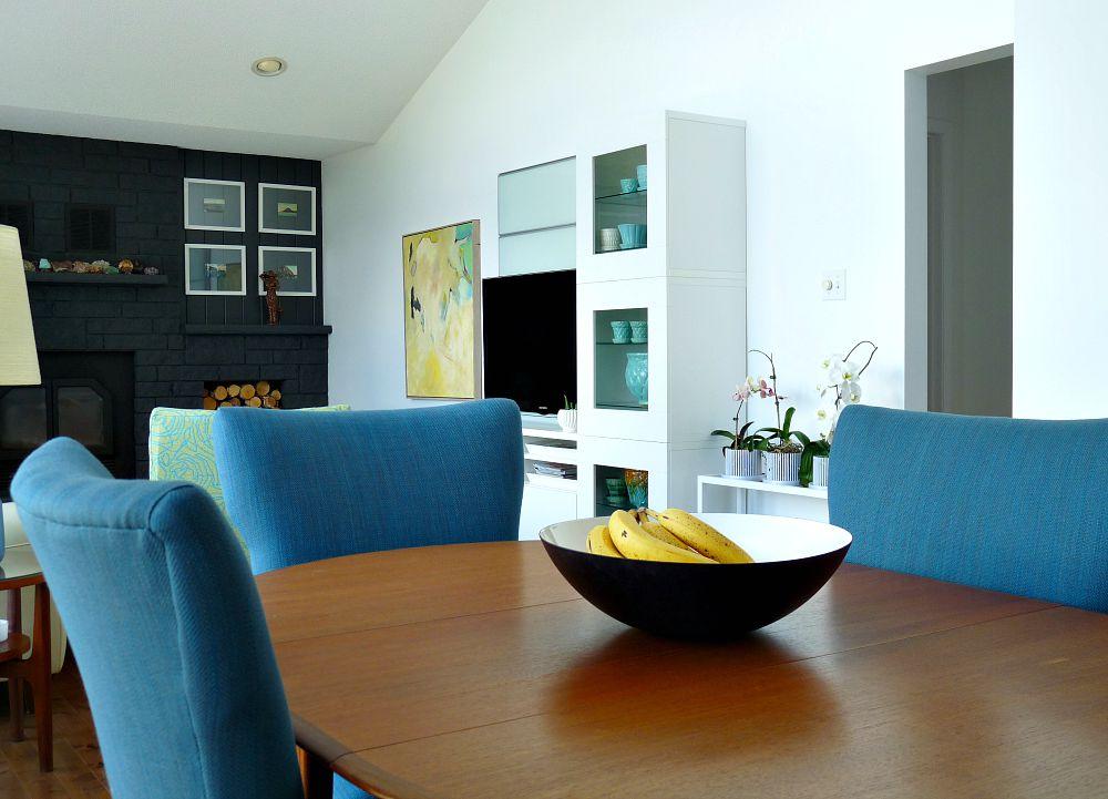 MCM Teak Table with Blue Tweed Chairs