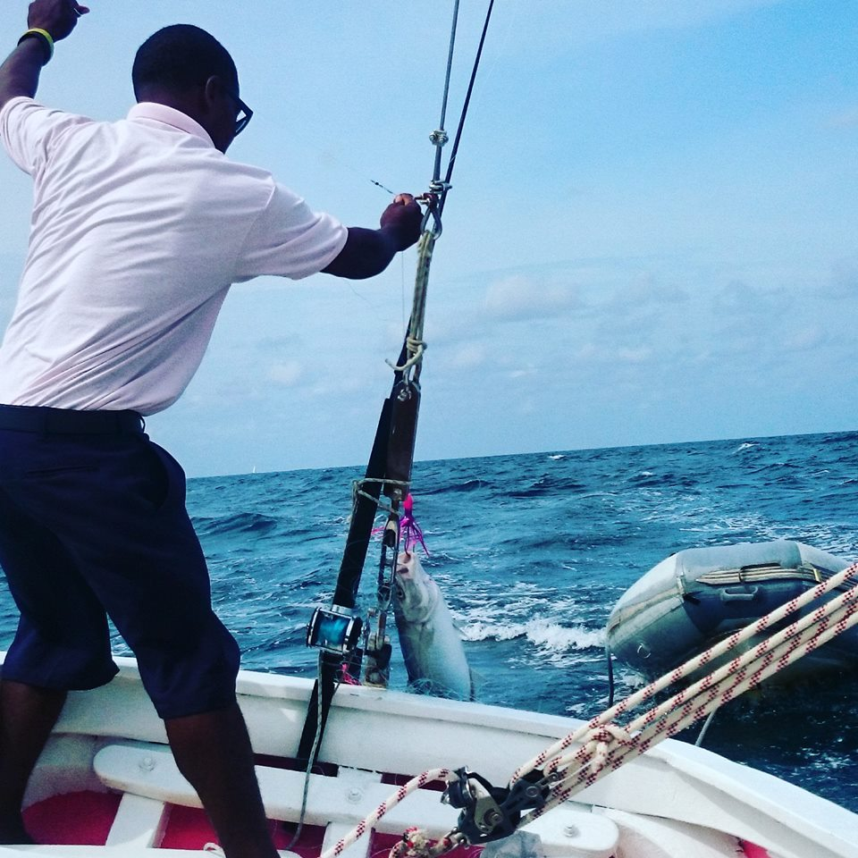Catching fish off the boat in St Vincent and the Grenadines