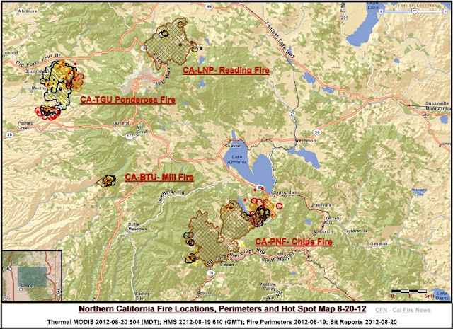 Chips Fire Location, Perimeter & Hot Spot Map