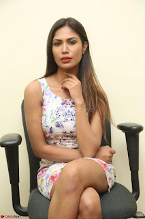 Nishi Ganda stunning cute in Flower Print short dress at Tick Tack Movie Press Meet March 2017 137.JPG