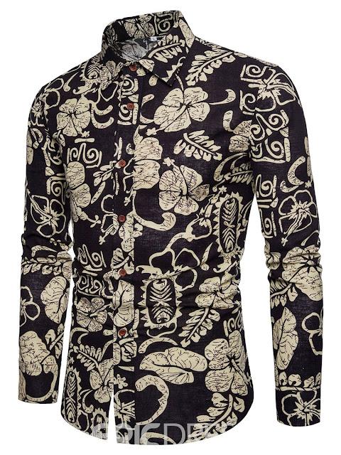 Men's Patchwork Floral Print Lapel Slim Fit Pasiley Shirt