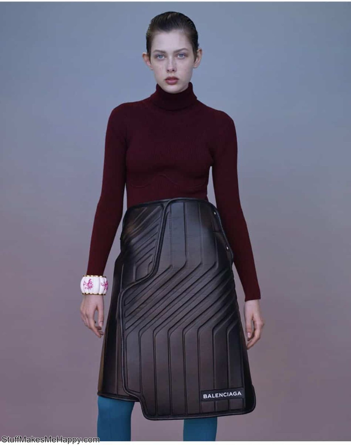 The skirt, which looks more like a car mat