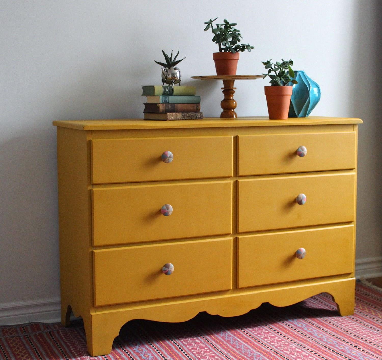 Brand-new Poppyseed Creative Living: Mustard Yellow Dresser with Hand  NZ77