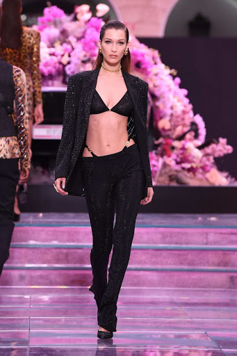 Bella Hadid walks the runway during the Versace fashion show Spring/Summer 2020 in Milan, Italy