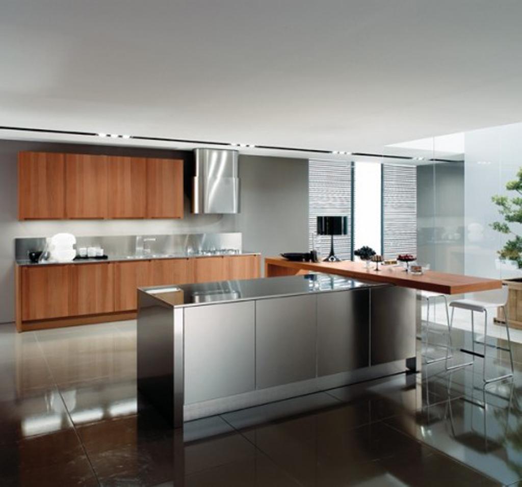 Minimalist modern style kitchen set modern biasa memiliki tampilan silver karena berbahan stainless steel dengan pengaturan tata letak dan juga kualitas