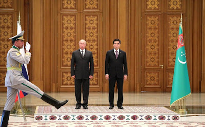 The official greetings ceremony of Russian President in Turkmenistan.