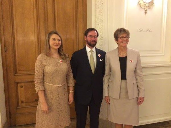 Hereditary Grand Duke Guillaume and Hereditary Grand Duchess Stéphanie attended the opening ceremony of the 3rd National Selection Conference of the European Youth Parliament Luxembourg at the Cercle Municipal building in Luxembourg. diamond tiara, Stephanie wore weddings dress, diamond earrings