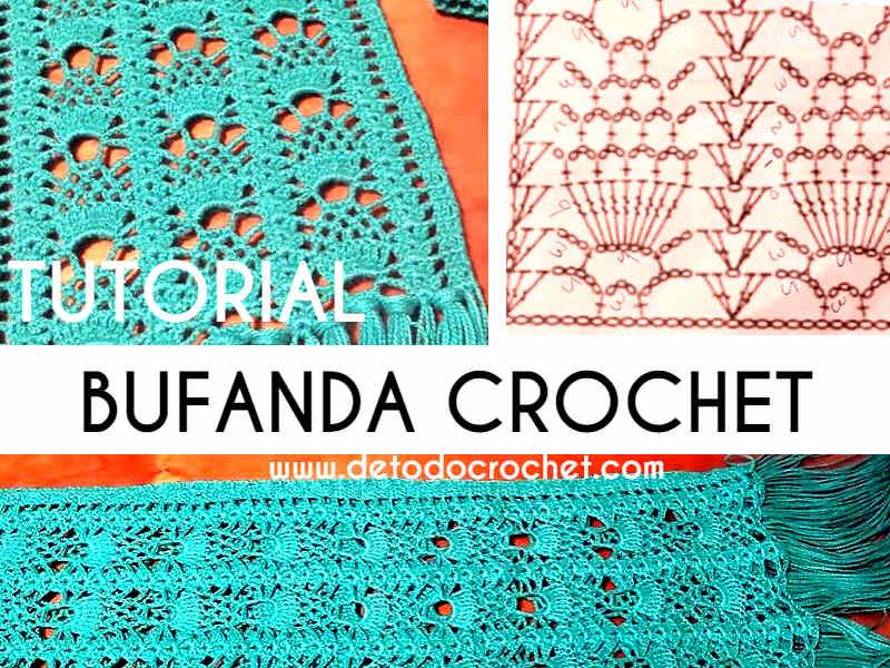 Atrévete a Tejer tu Bufanda de Piñas Crochet / Tutorial para zurdos ...