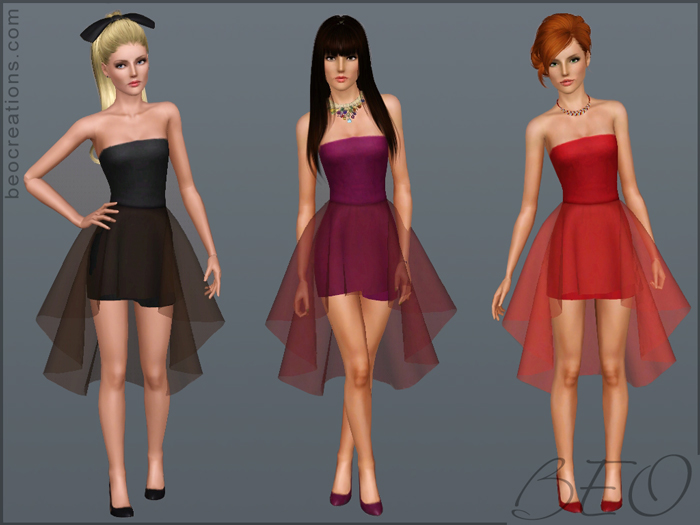 My Sims 3 Blog: Mini Dress With Sheer Skirt By BEO