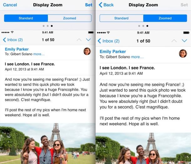 Teks Email Tampil Baik Di Zoomed iPhone 6 Plus