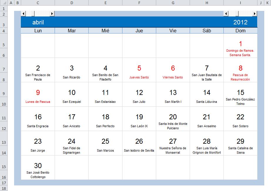 Calendario Con Excel.Excel Practico Para Todos Calendario Con Fiestas