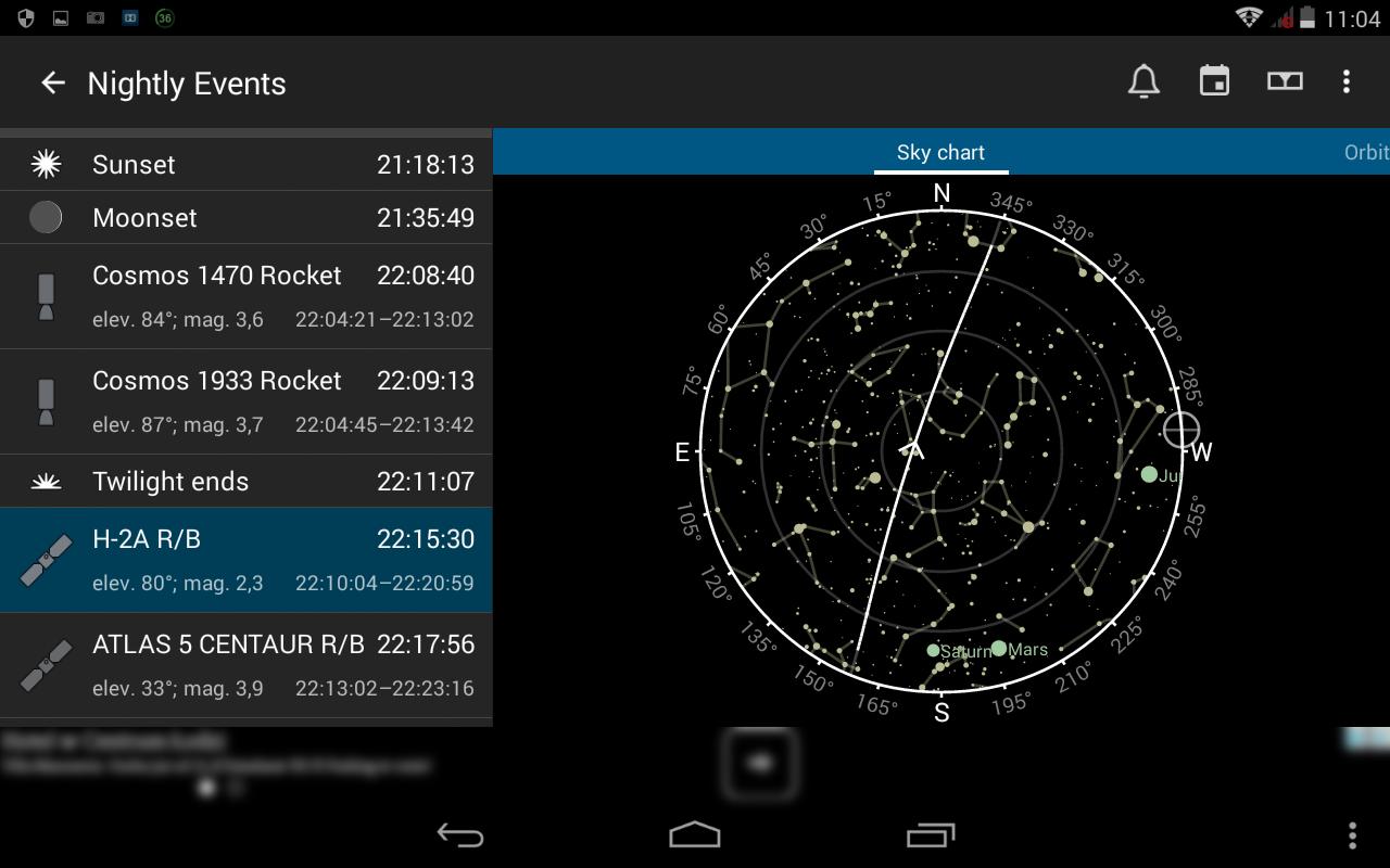 3. Lista wydarzeń najbliższego wieczoru - widok ogólny po wyborze przykładowego satelity - H-2A RB