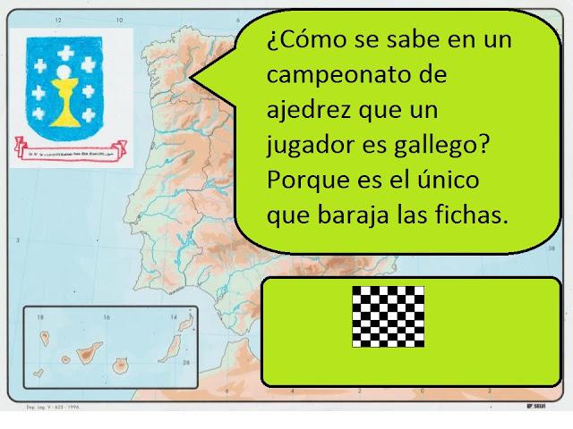 ¿Cómo se sabe en un campeonato de ajedrez que un jugador es gallego? Porque es el único que baraja las fichas.