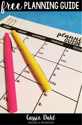 Wanting to make your weekly planning just a little bit easier? This free planning guide will help any teacher organize their plans for math, science, reading and social studies!