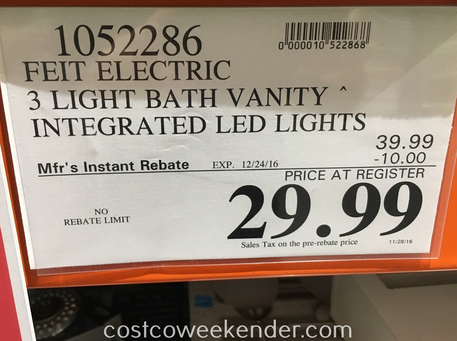 Deal for the Feit 3 Light Bath Vanity at Costco