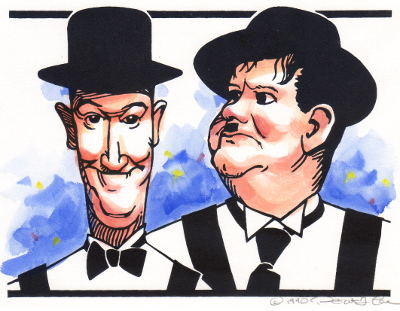 Laurel and Hardy screen print with watercolor