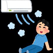 冷房で涼む人のイラスト