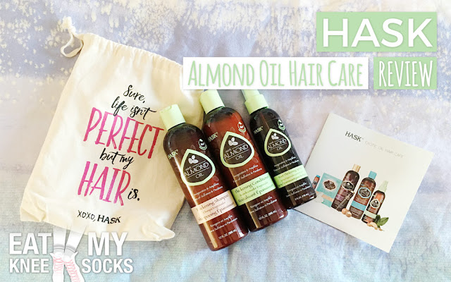 I'm back today with another review of products from HASK, a quality hair care brand that specializes in shampoos, conditioners, and shine oils with different essential oils. This time I'll be reviewing their mint almond oil hair care collection, a great choice for those who wish to thicken, volumize, and restore their hair. - Eat My Knee Socks/Mimchikimchi