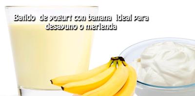 Batido de yogurt con banana ideal para desayuno o merienda✅te aportará energías y no sentirás hambre hasta la hora de tu próxima comida, evitando la ansiedad de comer antes de la hora.