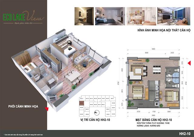 Thiết kế căn hộ B2A-10 toà HH2 ECO LAKE CIEW