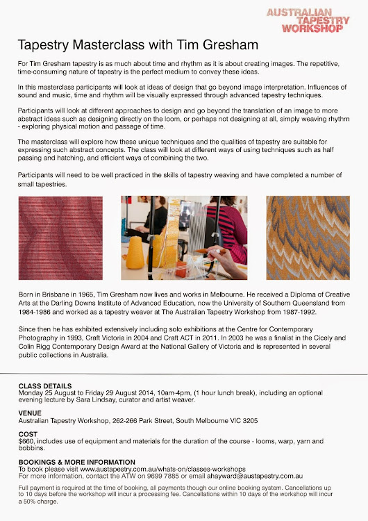 Masterclass at Australian Tapestry Workshop