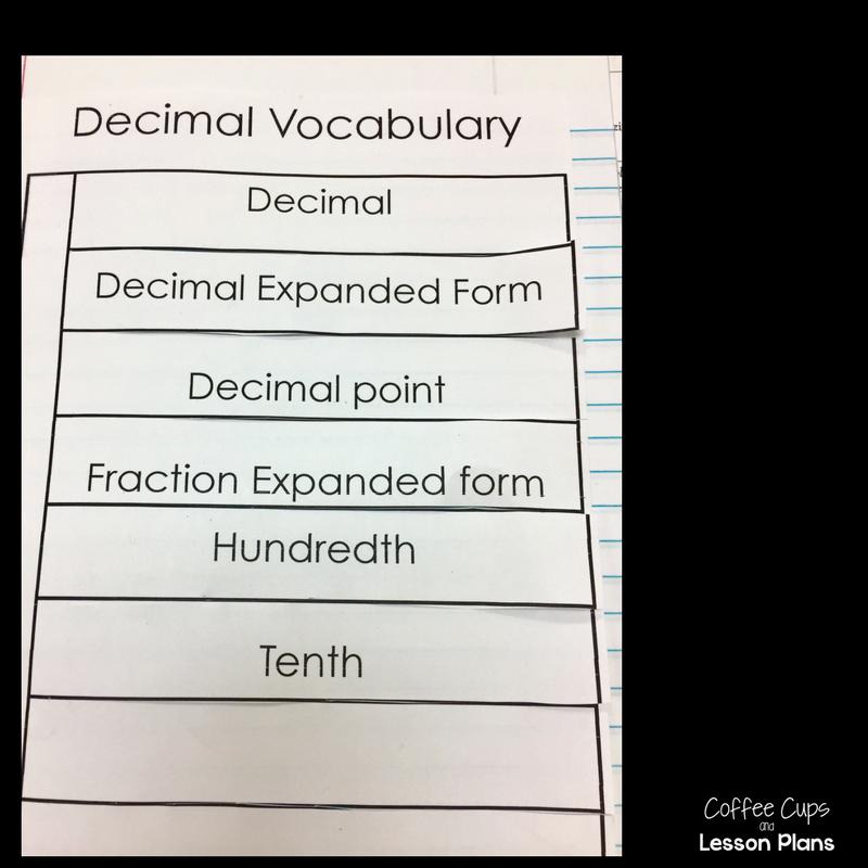 Decimals And Fractions Interactive Notebook Sort Freebie Coffee