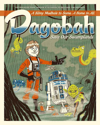 "San Diego Comic-Con 2017 Exclusive Star Wars ""Dagobah: Save our Swamplands"" Glow in the Dark Variant Screen Print by Ian Glaubinger x Acme Archives x Dark Ink Art"