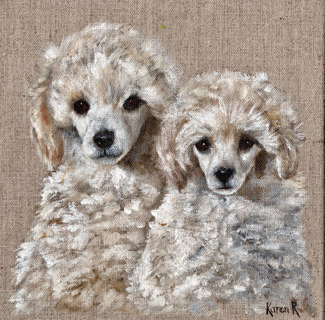 Oil painting on linen of Two White Poodles